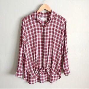 LOFT Plaid Button Down Tunic Shirt